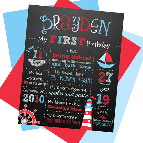 Nautical First Birthday Milestone Sign - AbbyReese Design