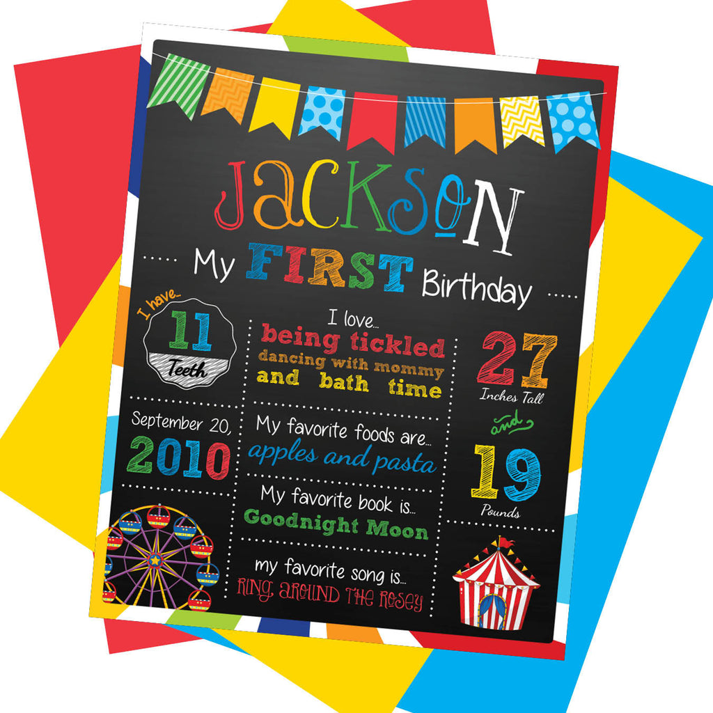 Carnival First Birthday Milestone Sign - AbbyReese Design