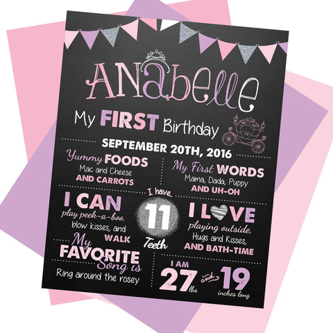 Princess First Birthday Milestone Sign - AbbyReese Design