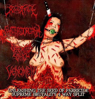 Defeated Sanity, Moonfog , Venomed, Splattered Orgasm ‎– Unleashing The Seed Of Parricide Split CD