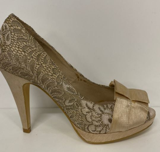 BUTTERFLY LACE PEEP TOE BY NUDE
