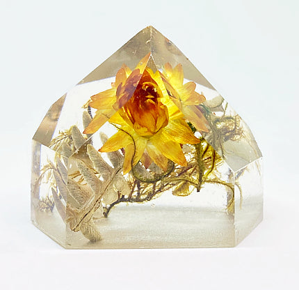 Orange & Gold Fern Flora Crystal - Medium