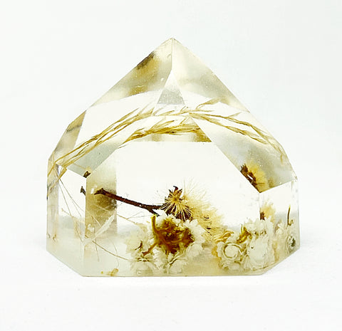 White & Gold Flora Crystal - Medium