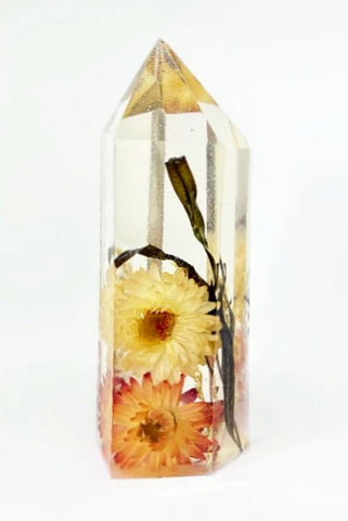 Orange Yellow & Black Flora Crystal - Large