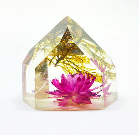 Moss & Pink Flora Crystal - Medium