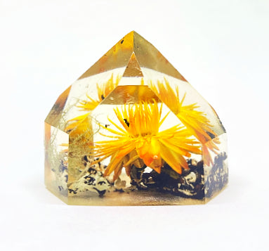 Orange, Black & White Flora Crystal - Medium