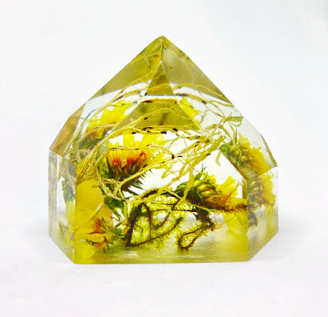 Yellow Statice & Lichen Flora Crystal - Medium