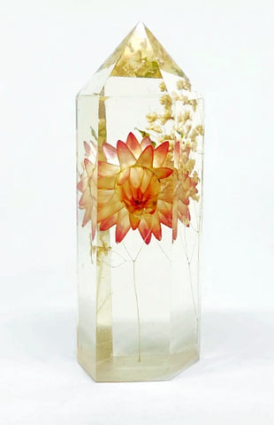 Gold & Coral Flora Crystal - Large