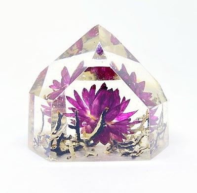 Magenta, Black & White Flora Crystal - Medium