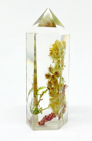 Goldenrod, Amaranth & Moss Crystal - Large
