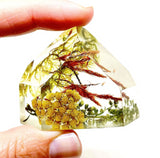 Maroon, Moss & Yellow Flora Crystal - Medium