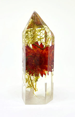 Moss & Red Flora Crystal - Large