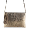 POUCH JULIA PITON ORO LIGHT / CON CADENA