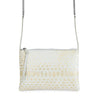 POUCH JULIA MINI PITON BLANCO ORO HORIZONTAL