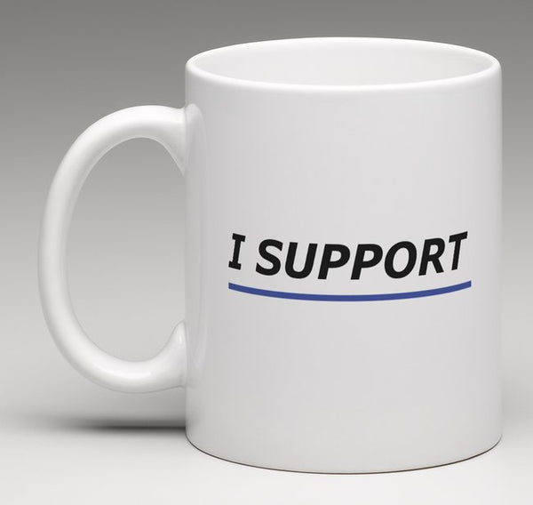 """I Support"" Thin Blue Line coffee mugs"