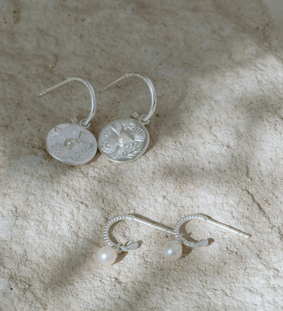 TINY PEARL HOOPS (STERLING SILVER)