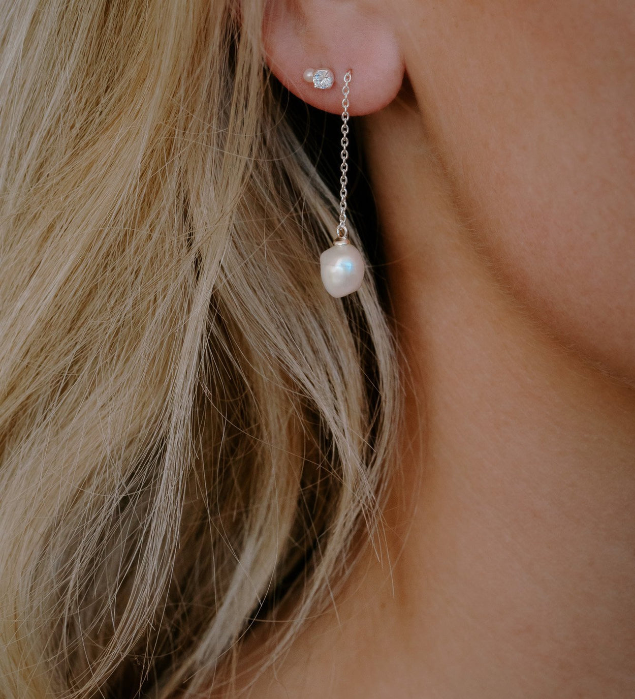 OCEAN PEARL CHAIN EARRINGS (STERLING SILVER)
