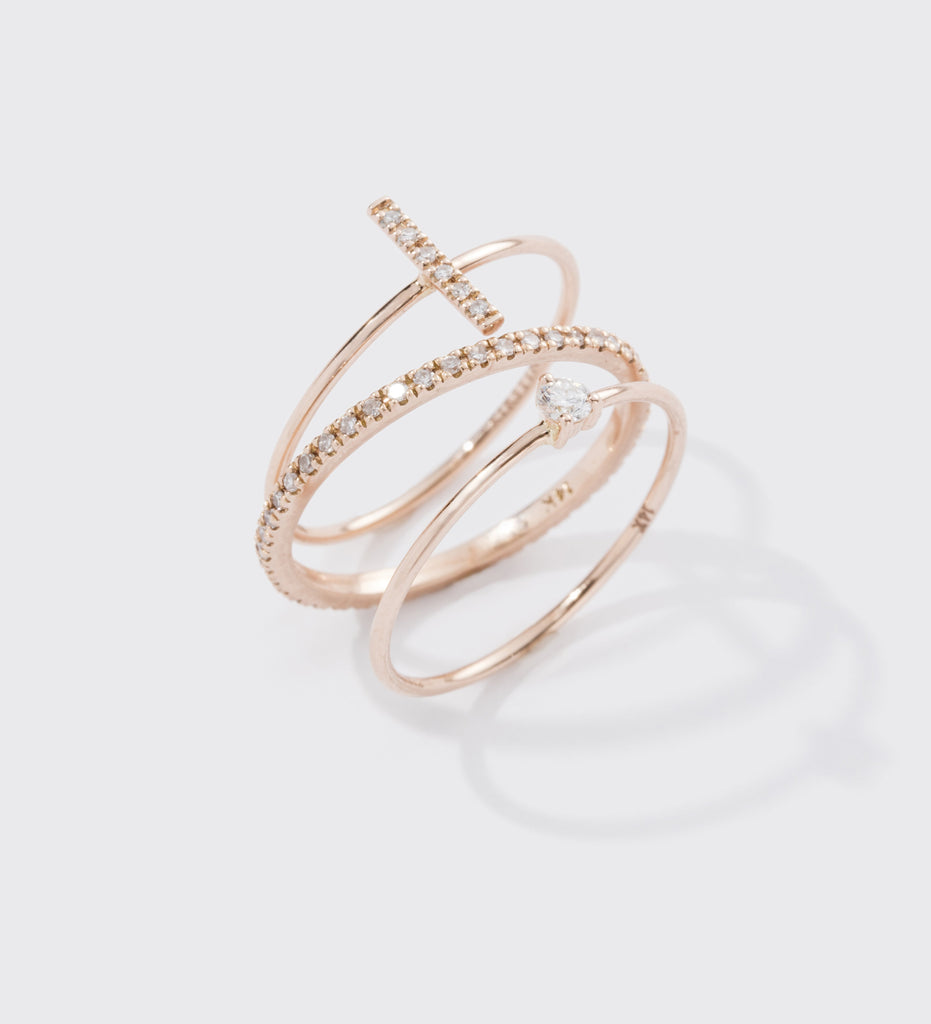 DIAMOND BAR RING (14K ROSE GOLD) Image 04