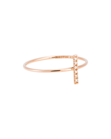 DIAMOND BAR RING (14K ROSE GOLD) 01