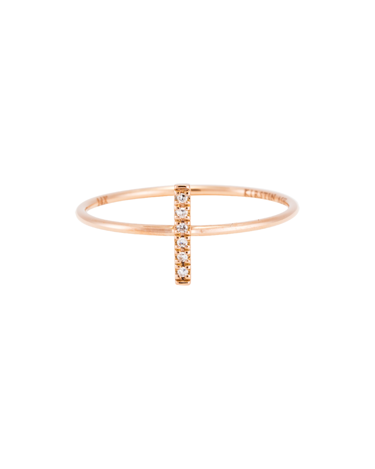 DIAMOND BAR RING (14K ROSE GOLD) Image 03