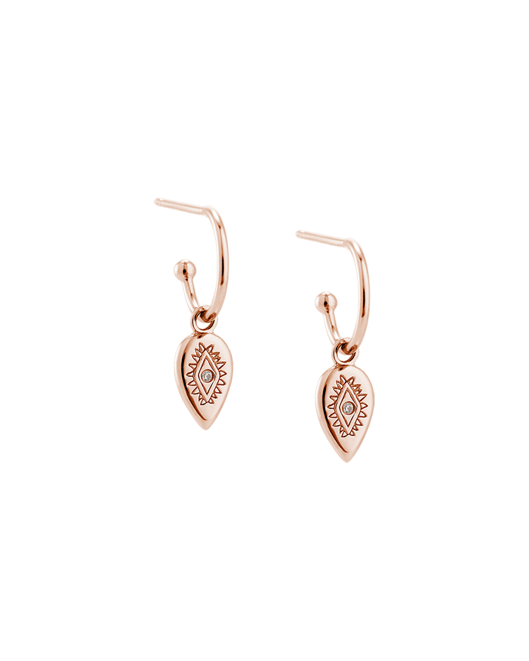 ETCHED TEARDROP HOOPS (18K-ROSE GOLD-PLATED) Image 01