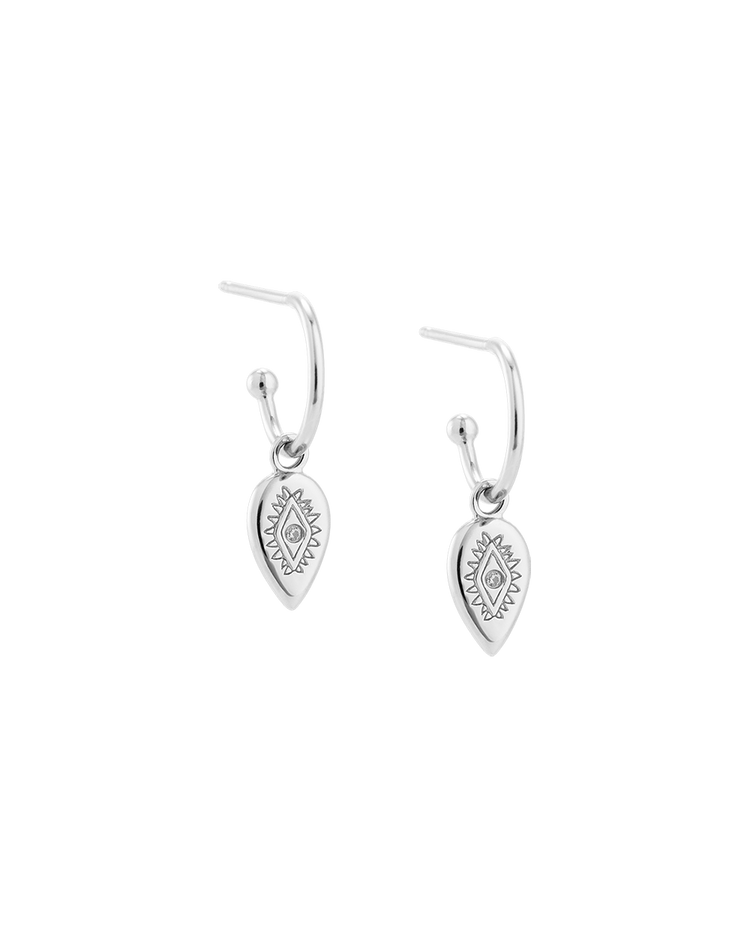 ETCHED TEARDROP HOOPS (STERLING SILVER) Image 01