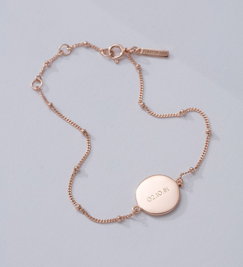 ENGRAVABLE DISC BRACELET (18K-ROSE GOLD-VERMEIL)