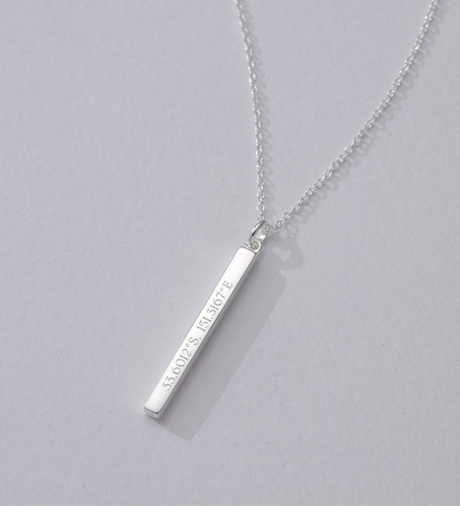 ENGRAVABLE COORDINATES BAR NECKLACE (STERLING SILVER)