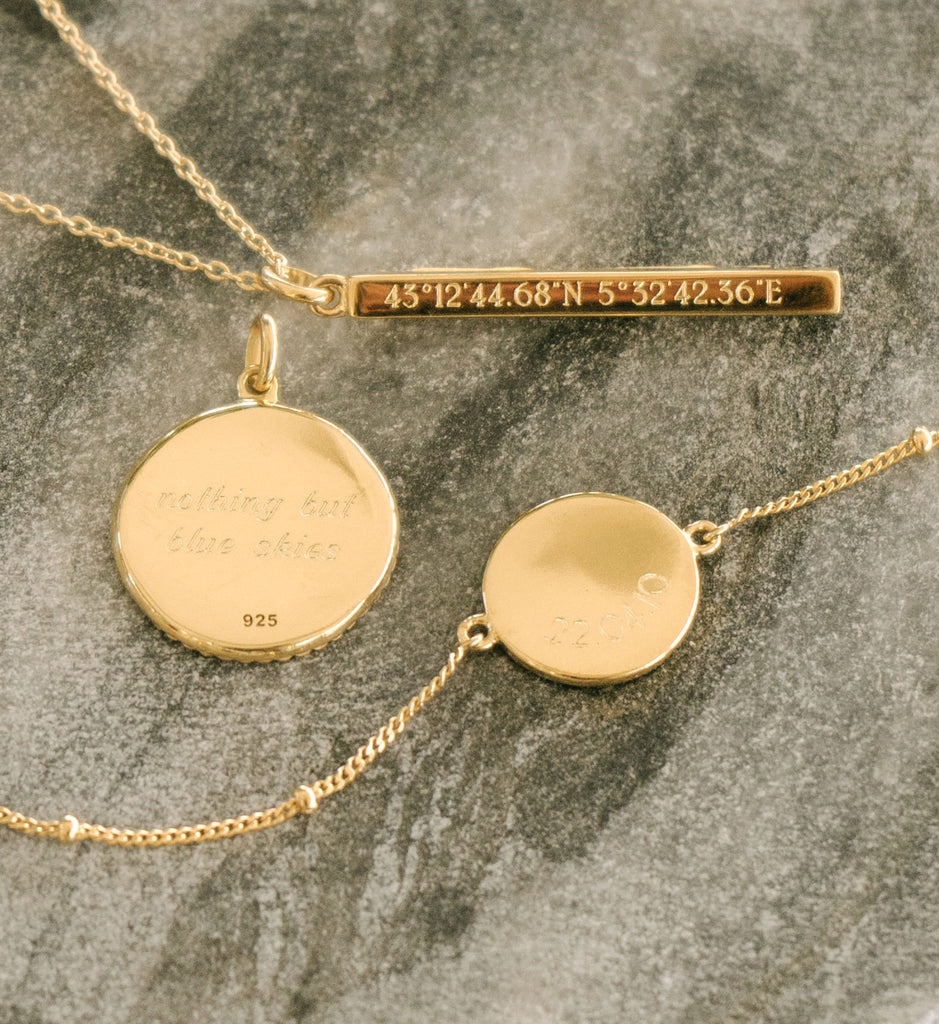 ENGRAVABLE COORDINATES BAR NECKLACE (18K-GOLD-VERMEIL)