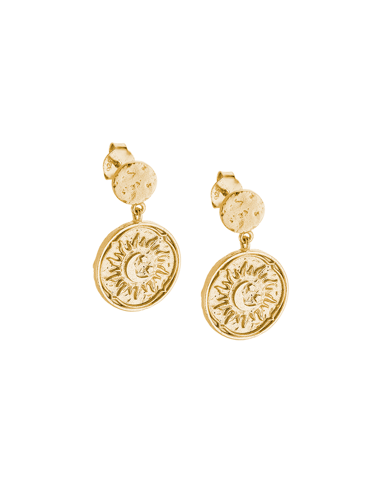 GOLDEN SUN COIN EARRINGS (14K-GOLD-PLATED) Image 01