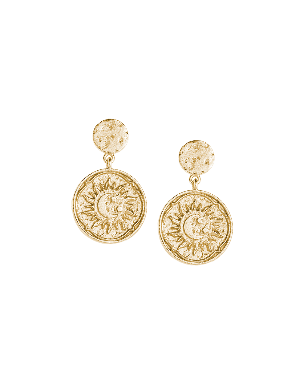 GOLDEN SUN COIN EARRINGS (14K-GOLD-PLATED) Image 03
