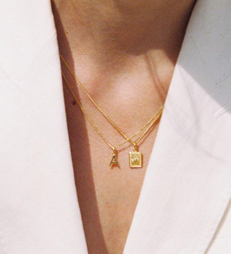 OUTLINE INITIAL NECKLACE A-Z (18K-GOLD-VERMEIL)