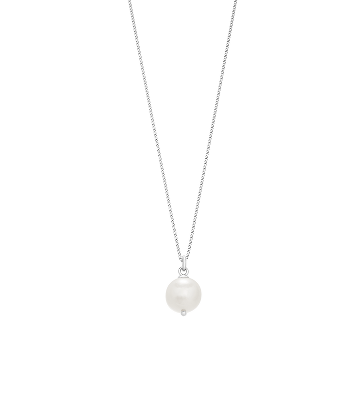 LARGE FRESHWATER PEARL NECKLACE (STERLING SILVER)