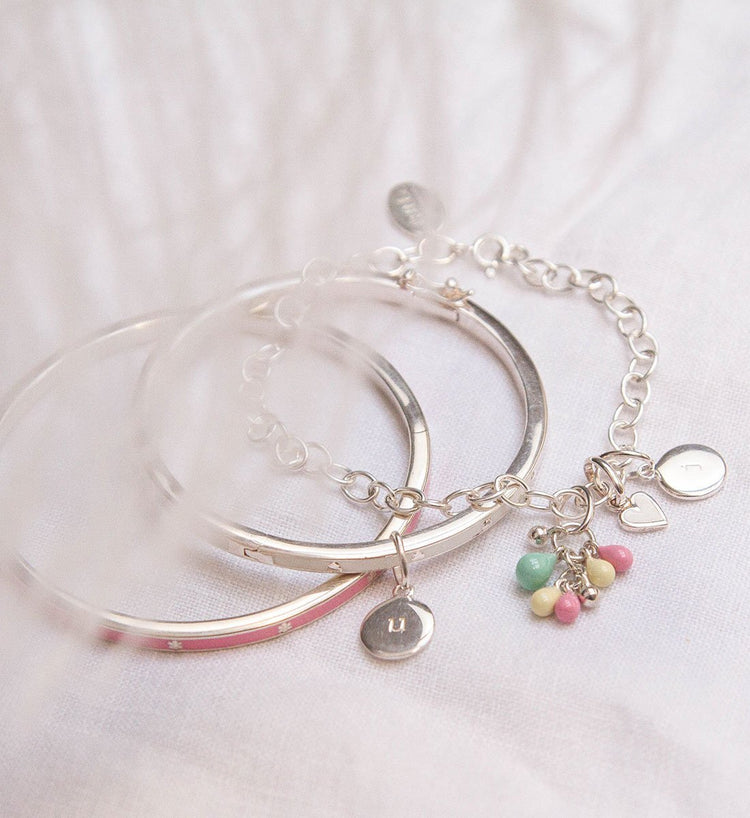 PINK FLOWER ENAMEL BANGLE (STERLING-SILVER)