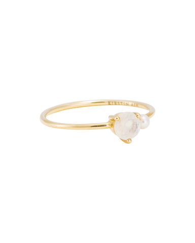 MOONSTONE PEARL RING (14K GOLD) 01