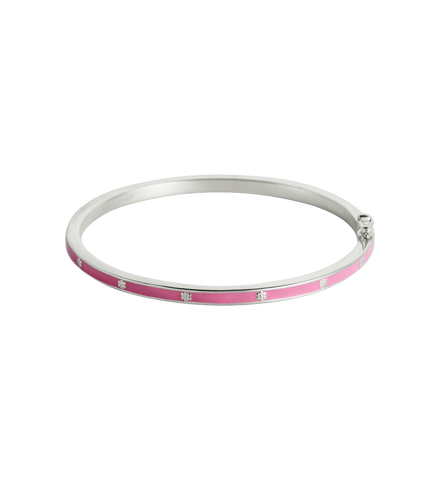PINK FLOWER ENAMEL BANGLE (STERLING-SILVER) 01