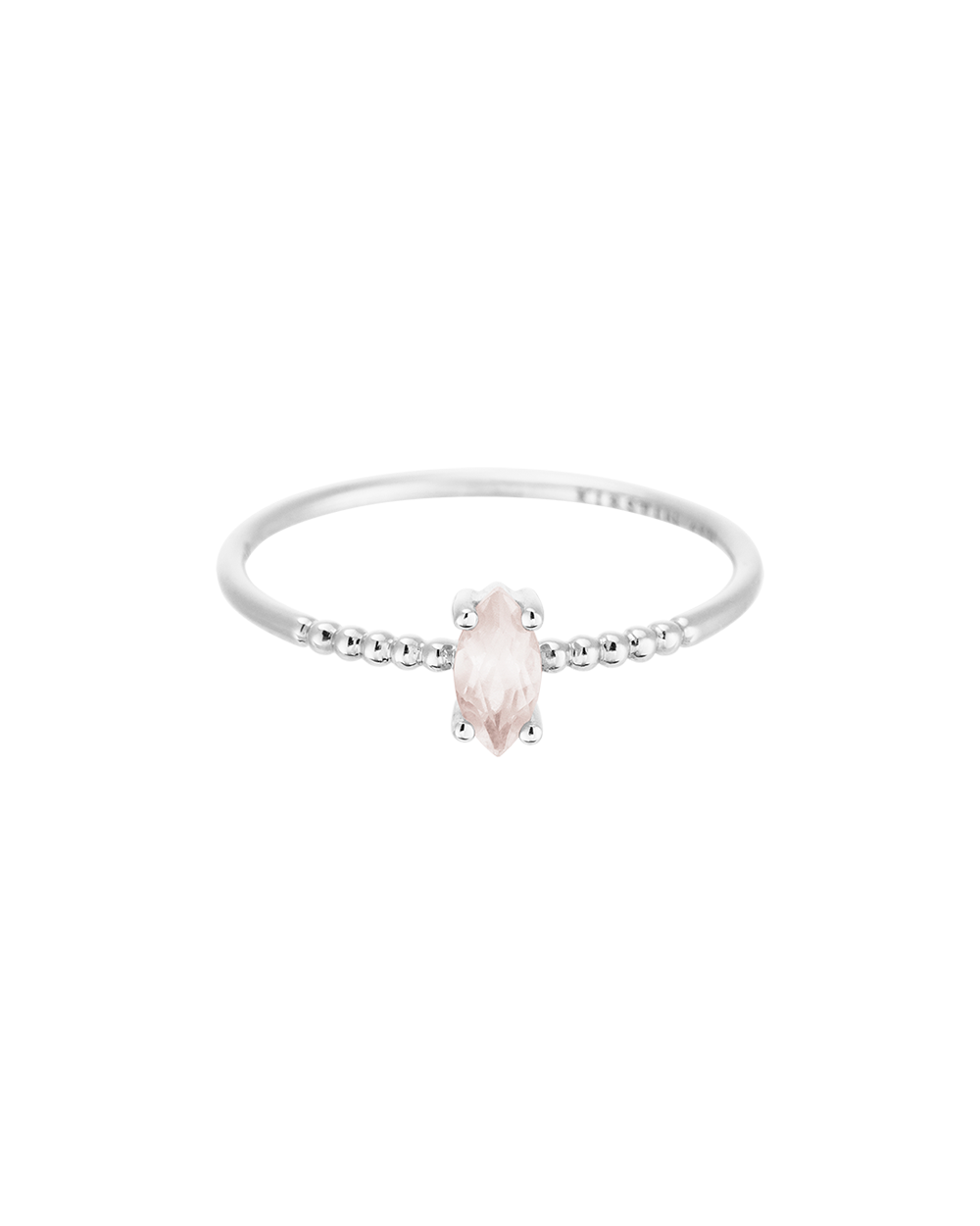 ROSE QUARTZ MARQUISE RING (STERLING SILVER)