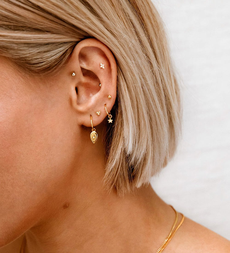 THREE DOT STUDS (18K-ROSE GOLD-PLATED)