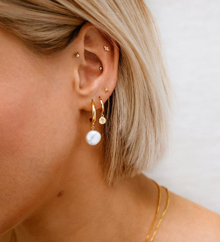 STAR COIN HOOPS (18K-ROSE GOLD-PLATED)