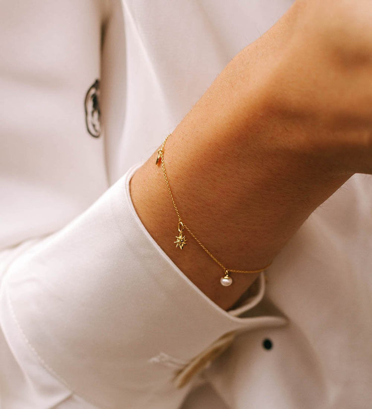 GUIDING STAR PEARL BRACELET (14K GOLD)