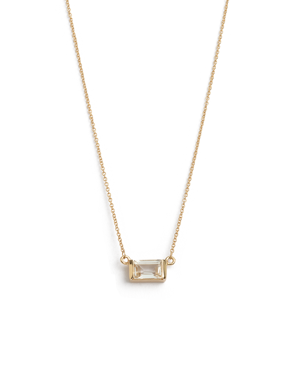 BAGUETTE NECKLACE WHITE TOPAZ (14K GOLD)