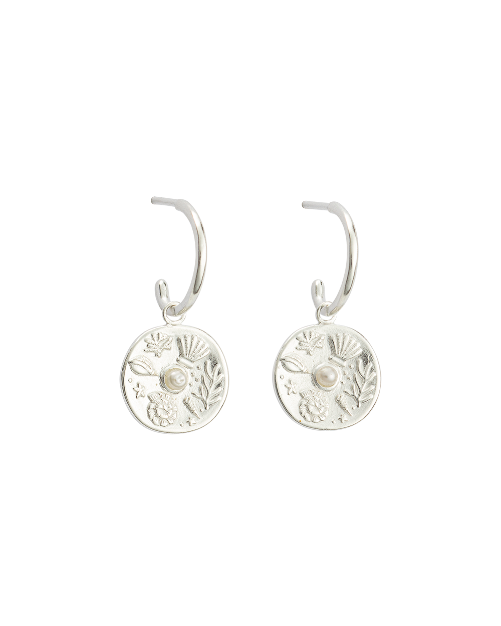 BY THE SEA HOOPS (STERLING SILVER)-FRONT