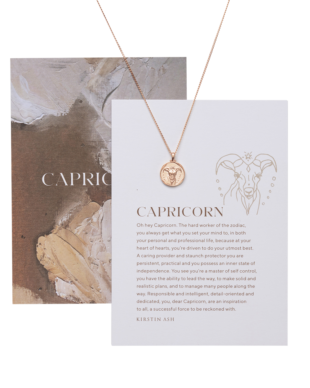 CAPRICORN ZODIAC NECKLACE (18K-ROSE GOLD-VERMEIL)