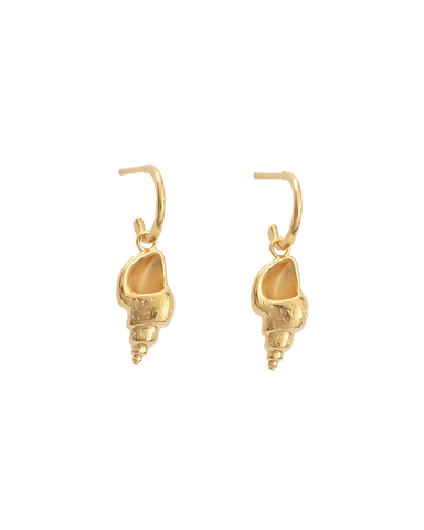 CONCH SHELL HOOPS (18K-GOLD-PLATED)-FRONT