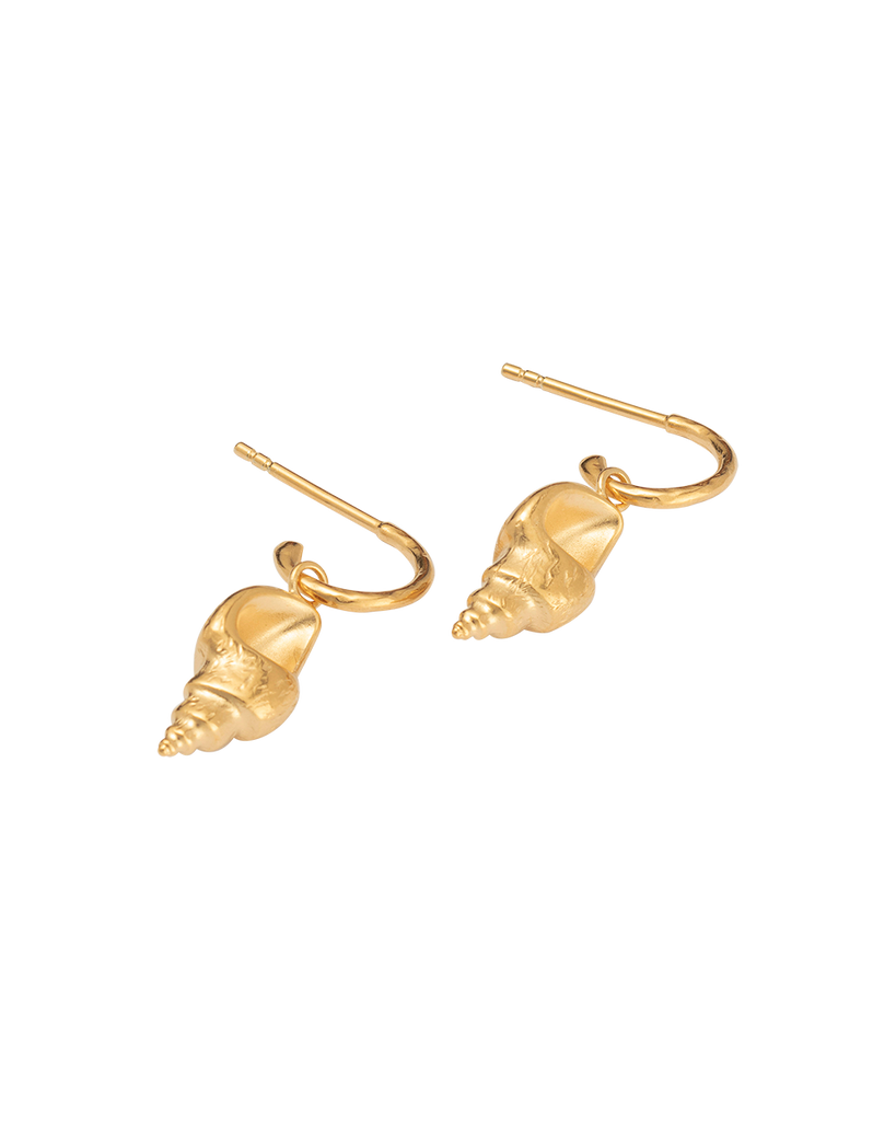 CONCH SHELL HOOPS (18K-GOLD-PLATED)-SIDE