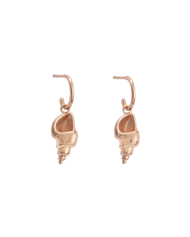 CONCH SHELL HOOPS (18K-ROSE GOLD-PLATED)-FRONT