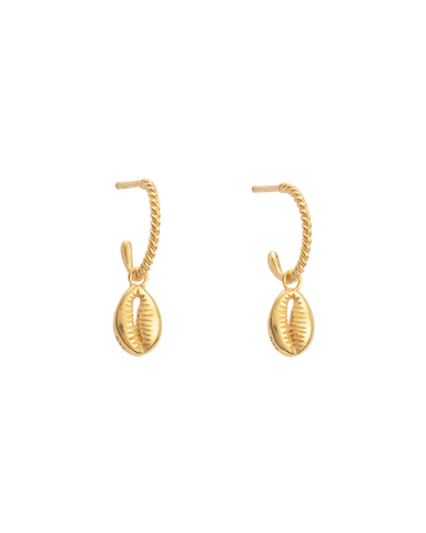 COWRIE SHELL HOOPS (18K-GOLD-PLATED)-FRONT