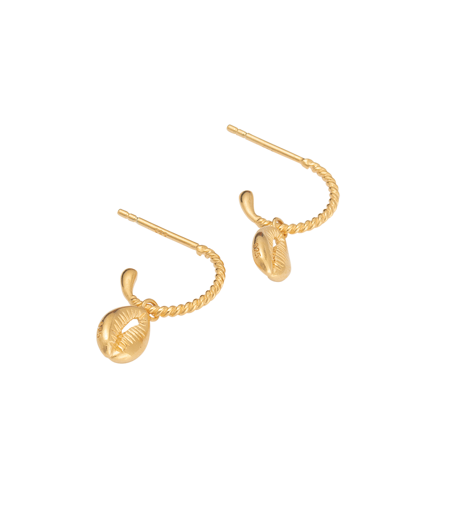 COWRIE SHELL HOOPS (18K-GOLD-PLATED)-SIDE
