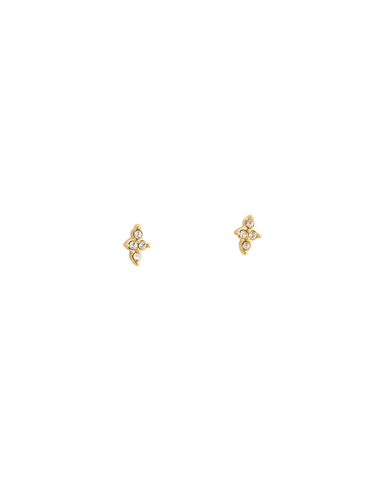 CRYSTAL FOUR DOT STUDS (18K-GOLD-PLATED)