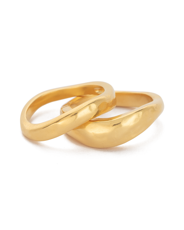 ESSENCE STACKING RING SET (18K-GOLD-PLATED) - FRONT